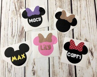 Character Ears Custom Name Vinyl Decal for Flask, Water Bottle Decal, Children's Name Sticker