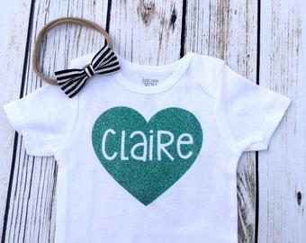 Baby Girl Custom Name Heart Bodysuits