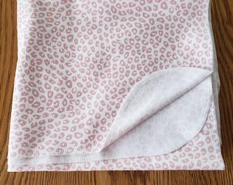 Baby flannel swaddle blanket pink leopard