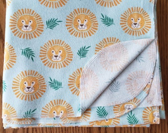 Baby flannel swaddle blanket Lion faces