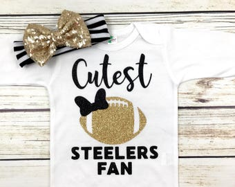 Cutest Steelers Fan Football Bodysuit Outfit For Baby Girl