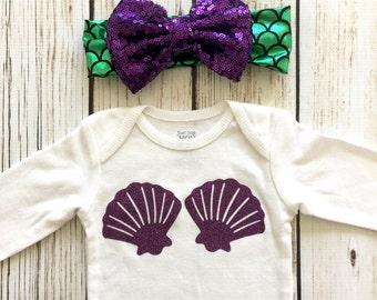 Mermaid Shell Bra Baby Girl Bodysuit Outfit