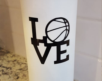 Love basketball,volleyball,baseball,soccer vinyl decal for Flask Water Bottle, Car Decal, Lap Top Decal