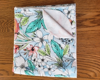 Baby flannel swaddle blanket Tropical flowers