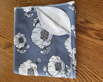 Baby flannel swaddle blanket Poppies