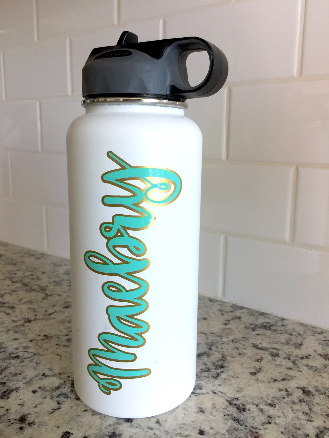 Layered Vinyl Custom Name Decal For Flask Water Bottle