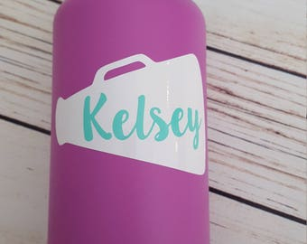 Cheer Megaphone with custom name vinyl decal for Flask Water Bottle, Car Decal, Lap Top Decal