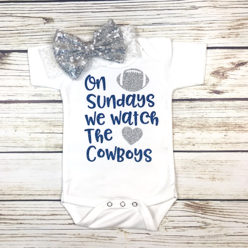 bf1997c62 On Sundays We Watch The Cowboys Football Bodysuit Outfit For | Etsy