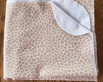 Baby flannel swaddle blanket leopard print