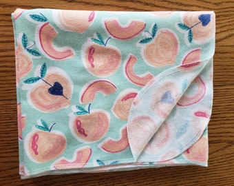 Baby flannel swaddle blanket Peaches