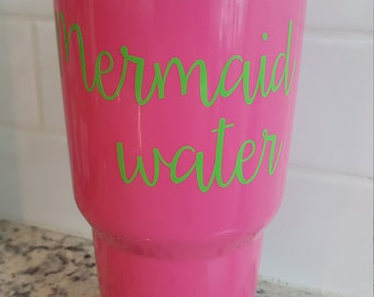 Mermaid water vinyl decal for Flask Water Bottle, Car Decal, Lap Top Decal