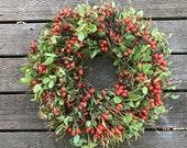 Door Size Wreath, Manzanita Wreath, Natural Rose Hips Wreath, Fall Wreath, Arctostaphylos Wreath, Rustic Wreath, Natural Decor, Fall