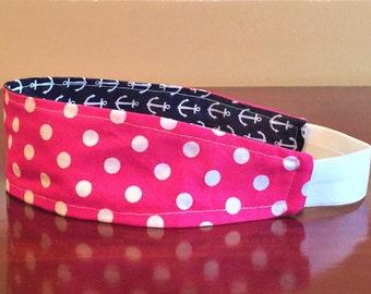 Pink Headband for women, Polka dot Headband, Retro Headband, Pink Womens Headband, Pink Girls Headband, Teen Headband, Reversible Headband