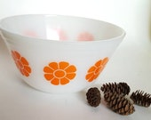 Federal glass mid mod orange flower bowl 7 quot bowl milk glass nesting bowl kitschy vintage