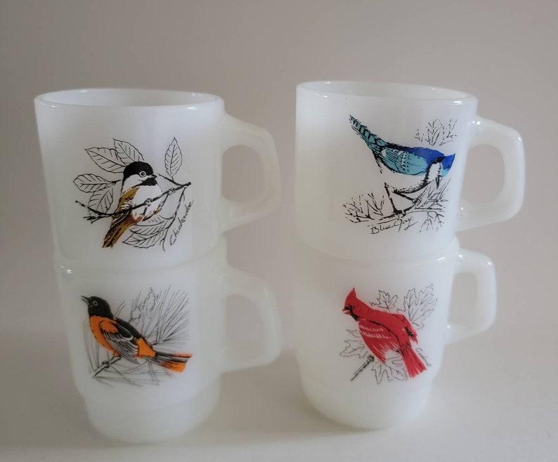 Vintage fireking bird coffee mugs/set of 4/midcentury image 0