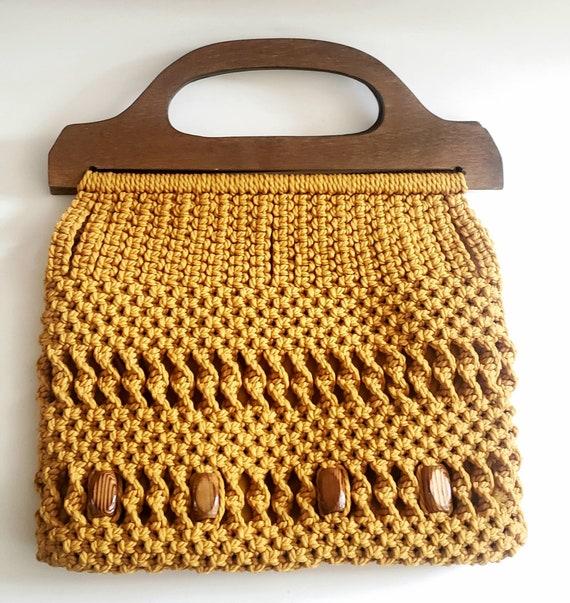 Large Vintage clutch/handbag/weaved/beaded/macrame
