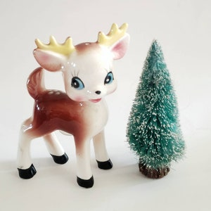 Doe and Buck Commodore Deer Salt and Pepper Shakers Pink and Blue Bows Nursery Decor Fur Tails Kitschy Cute Deer Japan Reindeer