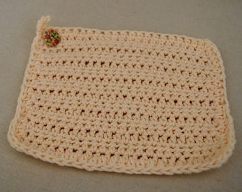 Hand Crocheted Old Timey Dish Cloth - Eggshell White with Vintage Multicolored Floral Button