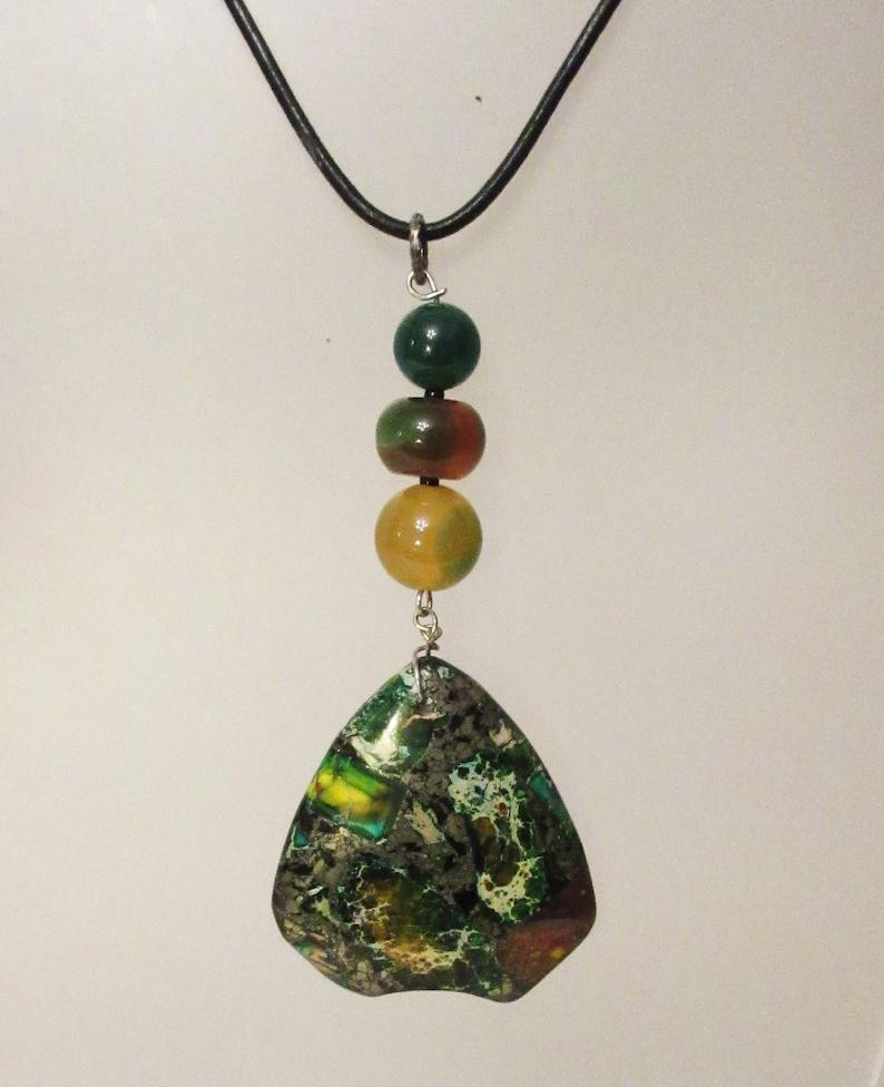 Sea Sediment Jasper Pendant Necklace Boho Unique Green Onyx Statement Handmade Pyrite Yellow Green Agate Healing Gems Gift for Her