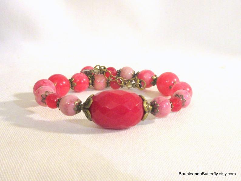 Pink Jade Bracelet Adjustable Beaded Dangle Bangle Valentines DayGift for Her Jade and Bronze Bangle Bracelet Memory Wire Bracelet