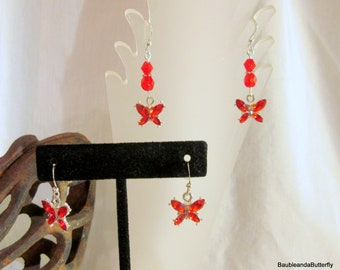 Butterfly Earrings, Dangle Earrings, Butterfly Jewelry, Rhinestone Jewelry, Rhinestone Butterflies, Handmade, Clip On or Post Available