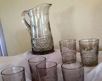 Antique Crystal Pitcher & Glasses - Set of 7