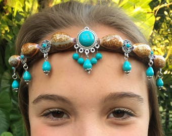 Turquoise Kuchie Shell Crown, Headband