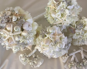 Crystal Seas Bridal Bouquet Set, Beach Wedding Bouquet Set, Shell Bridal Bouquet Set