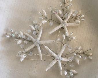 Coralie Starfish Hair Pin Set, Beach Wedding Hair Pins, Beach Bride Headpiece