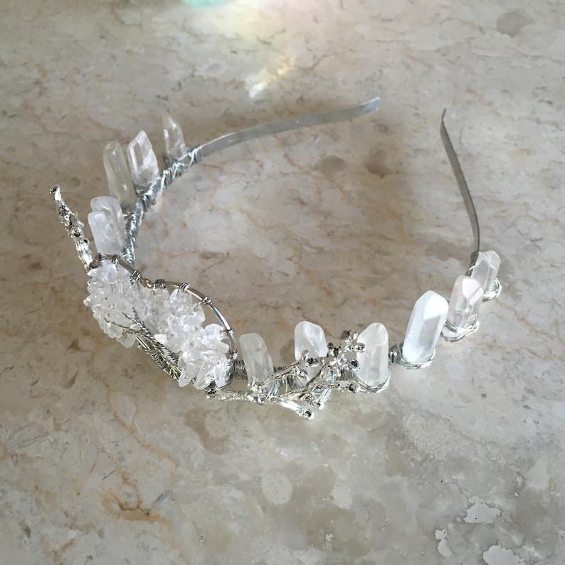 Willow Quartz Crystal Crown Crystal Point Headpiece