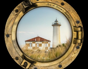Photo Frame Round | Porthole: Bibione Lighthouse