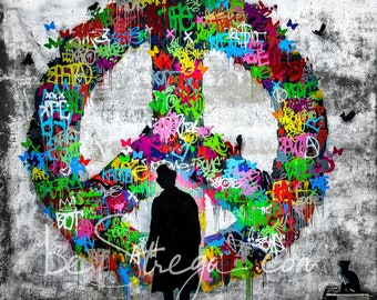 Fotoquadro murales Kenny Random | Give peace a chance