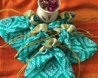 Set of 5 Green : Bandhani batwa / Bandhani Potli / Bandhani Drawstring bags (N0094)