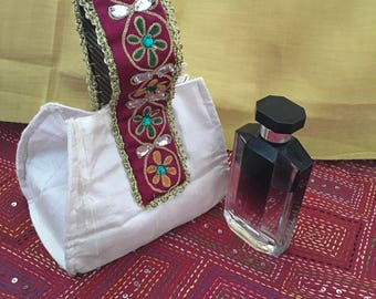 Silk potli bag with traditional Indian hand embroidered handle (White) [N0102]
