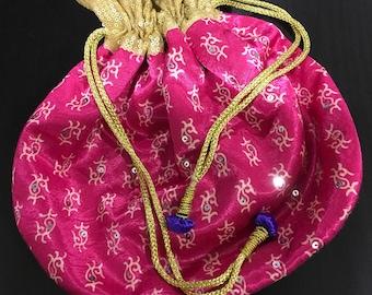 Pink draw string bag (N0064)