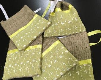 Set of 5 Burlap Gift Bags (0048)