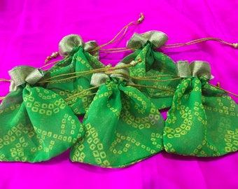 Set of 5 Green bandhani batwa /drawstring bags/ potli bags [N0187]