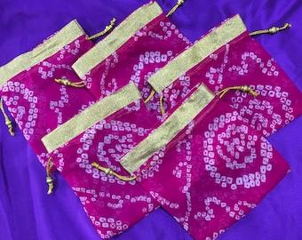 Set of 5 Pink : Bandhani batwa / Bandhani Potli / Bandhani Drawstring bags (N0091)