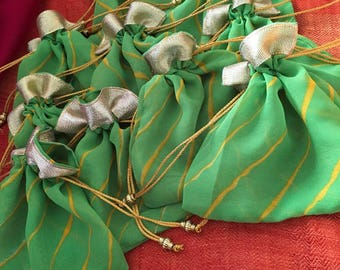 Green Set of 10 leharia Batwa/ potli / draw string bags (N0100)