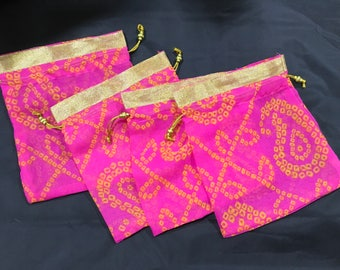 Set of 4 Pink bandhej batwa/ drawstring bags/ potli (Large)[N0143]