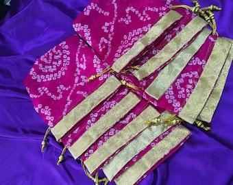 Set of 10 Dark Pink : Bandhani batwa / Bandhani Potli / Bandhani Drawstring bags (N0090)