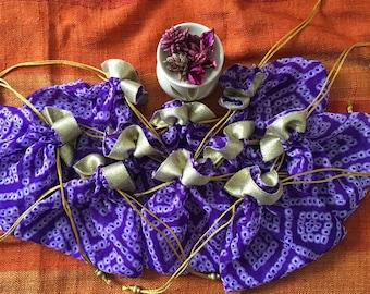 Set of 10 Purple : Bandhani batwa / Bandhani Potli / Bandhani Drawstring bags (N0095)