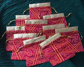 Traditional bandhani batwa / draw string bags Set of 10 [N0122]