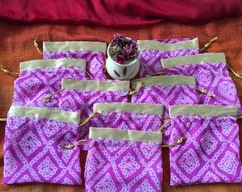 Set of 10 Lilac : Bandhani batwa / Bandhani Potli / Bandhani Drawstring bags (N0098)