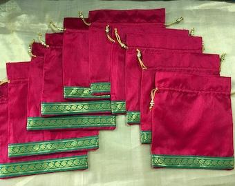 Set of 10 Red Silk batwa / Potli /  Drawstring bags (N0093)
