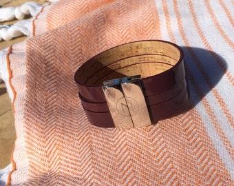 prawn  patent leather cuff solid brass clasp palladium plated