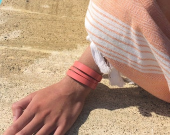 pink patent leather cuff solid brass clasp palladium plated