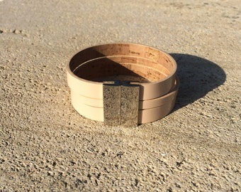 nude patent leather cuff solid brass clasp palladium plated