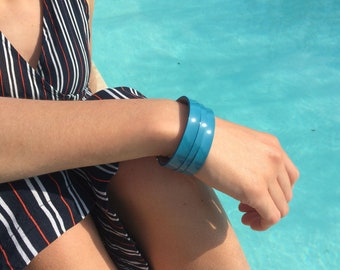 blue patent leather cuff solid brass clasp palladium plated