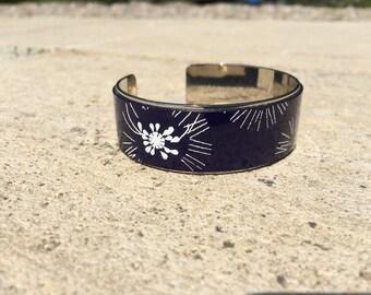 Navy leather bangle
